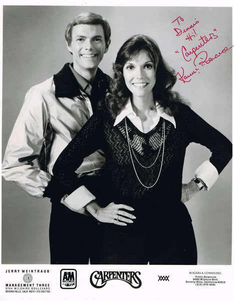 The Carpenters Autographed Black & White Photograph
