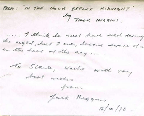 Harry Patterson/Jack Higgins Autographed Note