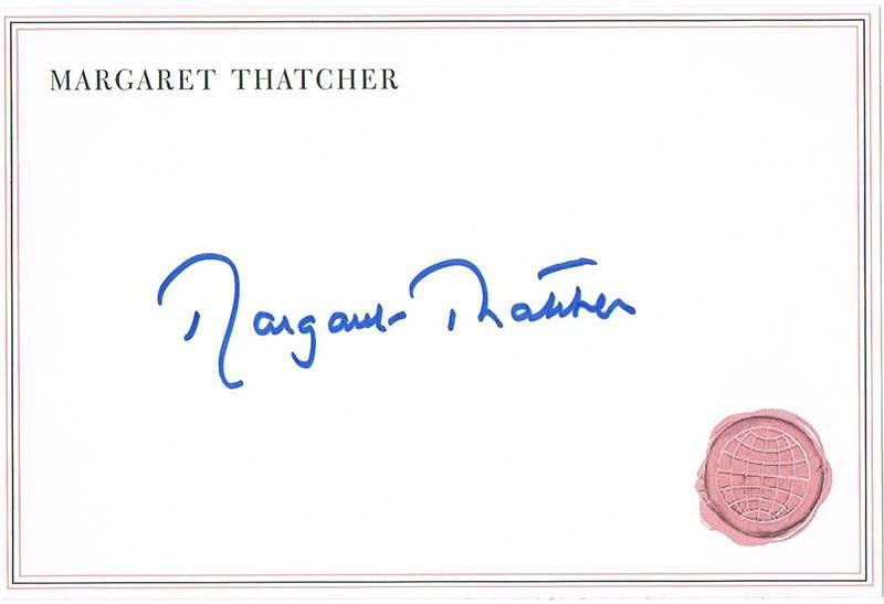 Margaret Thatcher Autograph on Card