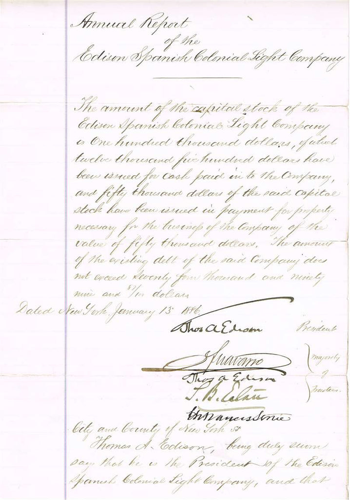 Thomas Edison Autographed Document