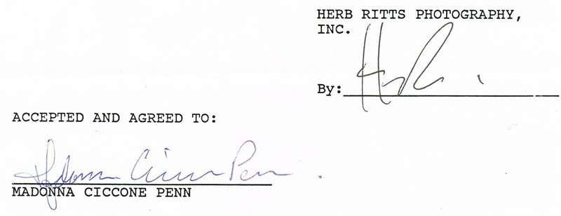 Madonna Autograph on Legal Document
