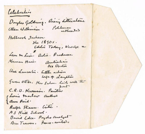Sir Arthur Conan Doyle Handwritten List