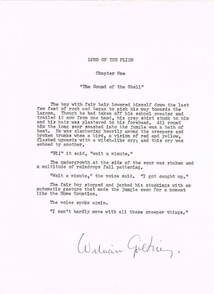 William Golding Typed Lord of The Flies Extract