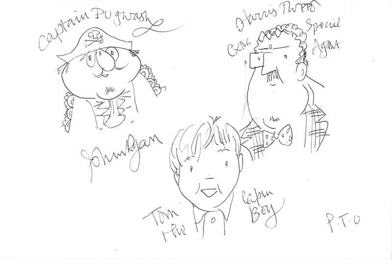 John Ryan Autographed Sketch of Captain Pugwash & Others