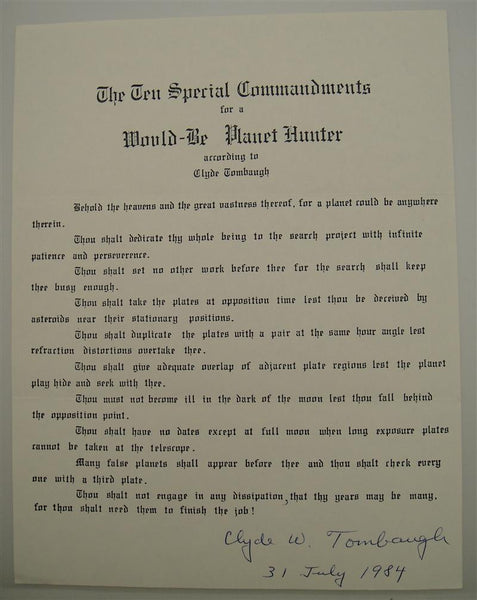 Clyde Tombaugh Autograph on Ten Special Commandments for a Would-Be Planet Hunter