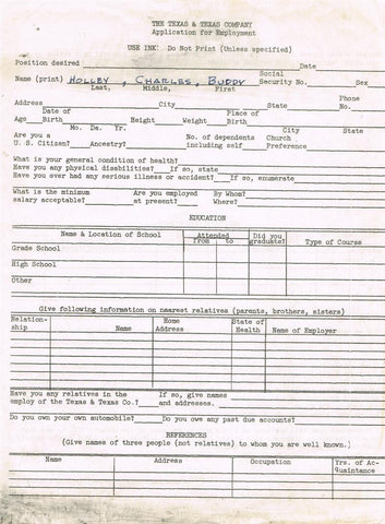 Buddy Holly Employment Application Form