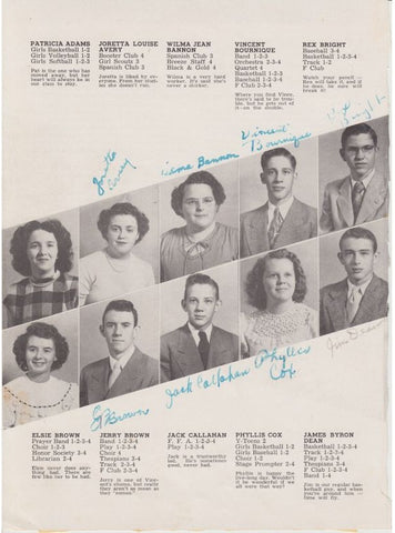 James Dean Signed Yearbook Page