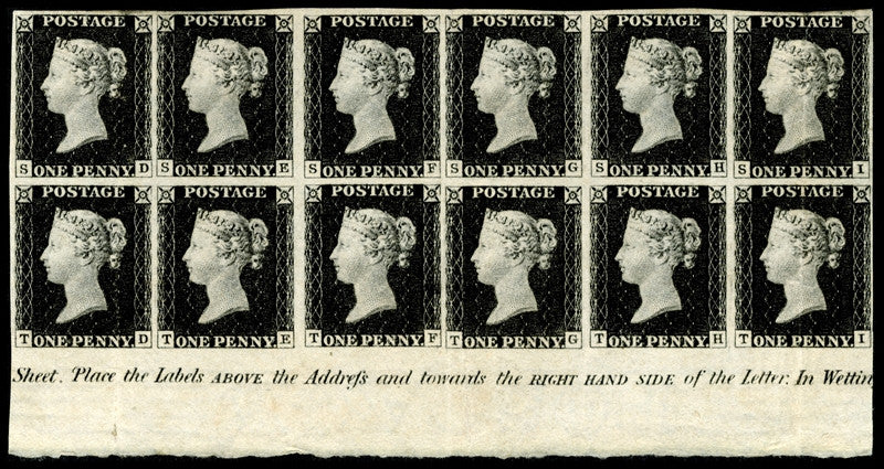 A magnificent mint block of 12 Penny Blacks