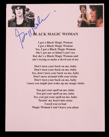 Santana Gregg Rolie autographed Black Magic Woman lyrics