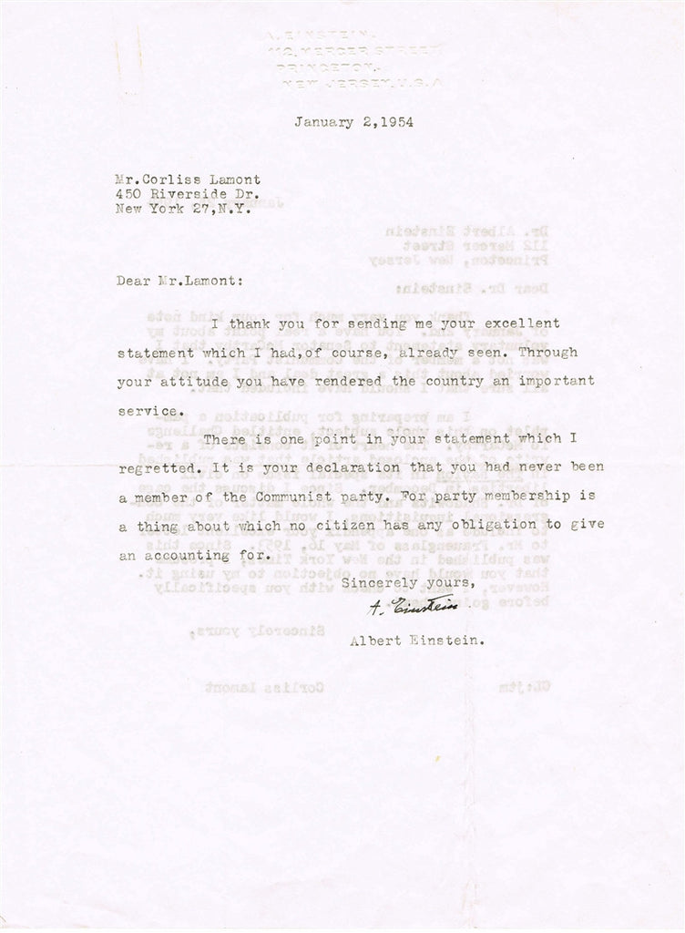 Albert Einstein signed letter