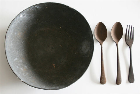 Mahatma Gandhi's personal food bowl, fork and spoons