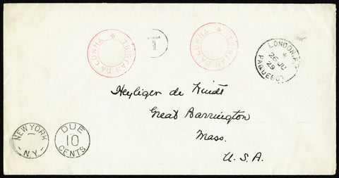 Tristan Da Cunha 1929 stampless cover to USA (SGC7)