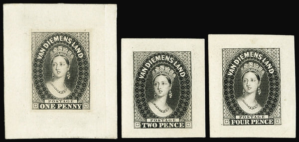 TASMANIA 1854 Perkins Bacon die proofs (SG14,15,17)