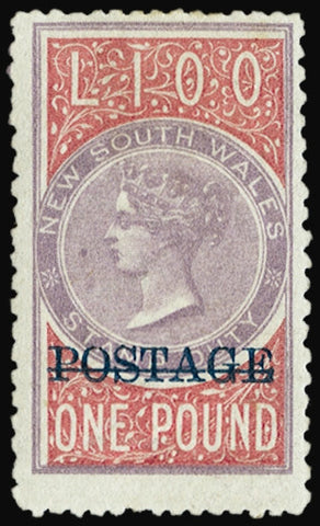 New South Wales 1885-86 £1 rose-lilac and claret, 'POSTAGE' opt in blue