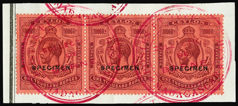 Ceylon 1912-35 1000r purple/red, opt 'SPECIMEN' (type D16)