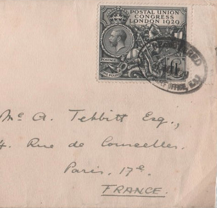 Great Britain  1929 P.U.C £1 black on cover, SG438