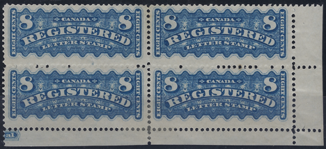 Canada 1875-92 Registration Stamps, SGR1, R7a, R8/9