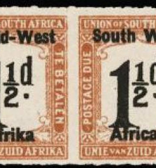 South West Africa 1923 Postage due 1½d black and yellow-brown SGD8b