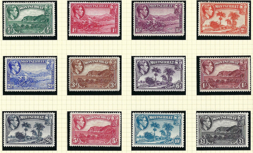 Montserrat 1938-48 King George VI Watermark Multiple Script CA ½d to £1 black set of 12, SG101a/112.