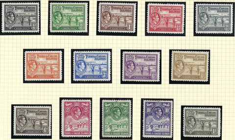 Turks and Caicos Islands 1938-45 George VI Watermark Multiple Script 1/4d to 10s bright violet set of 14, SG194/205.