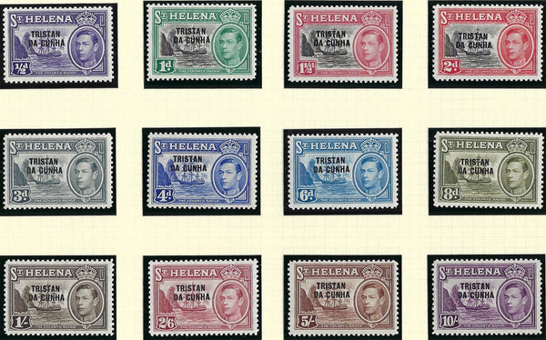 Tristan Da Cunha 1952 (1 Jan) SG135a/140 and SG149/151, 1/2d to 10s purple, SG1/12