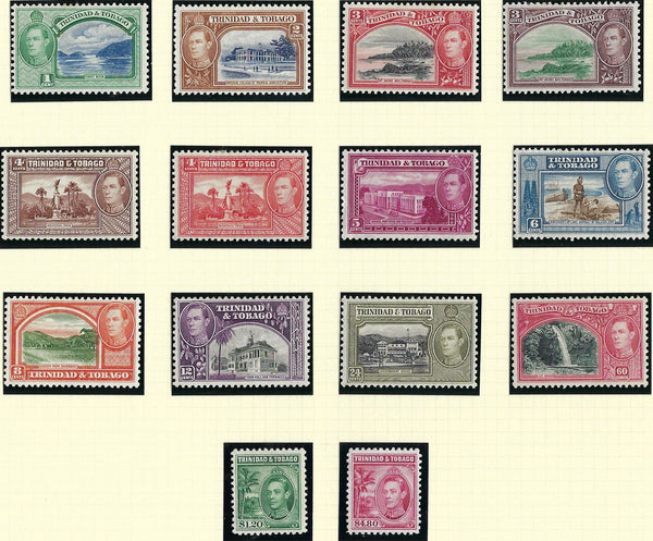 Trinidad and Tobago 1938-44 1c to $4.80 rose-carmine set of 14, SG246/256