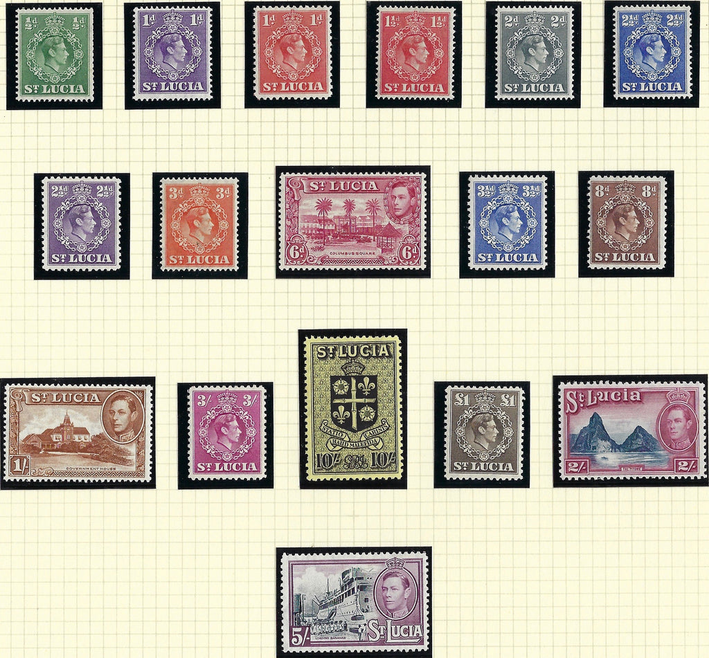 St. Lucia King George VI 1938-48 Watermark Multiple Script CA (sideways on 2s) ½d to £1 sepia set of 17, SG128a/141.