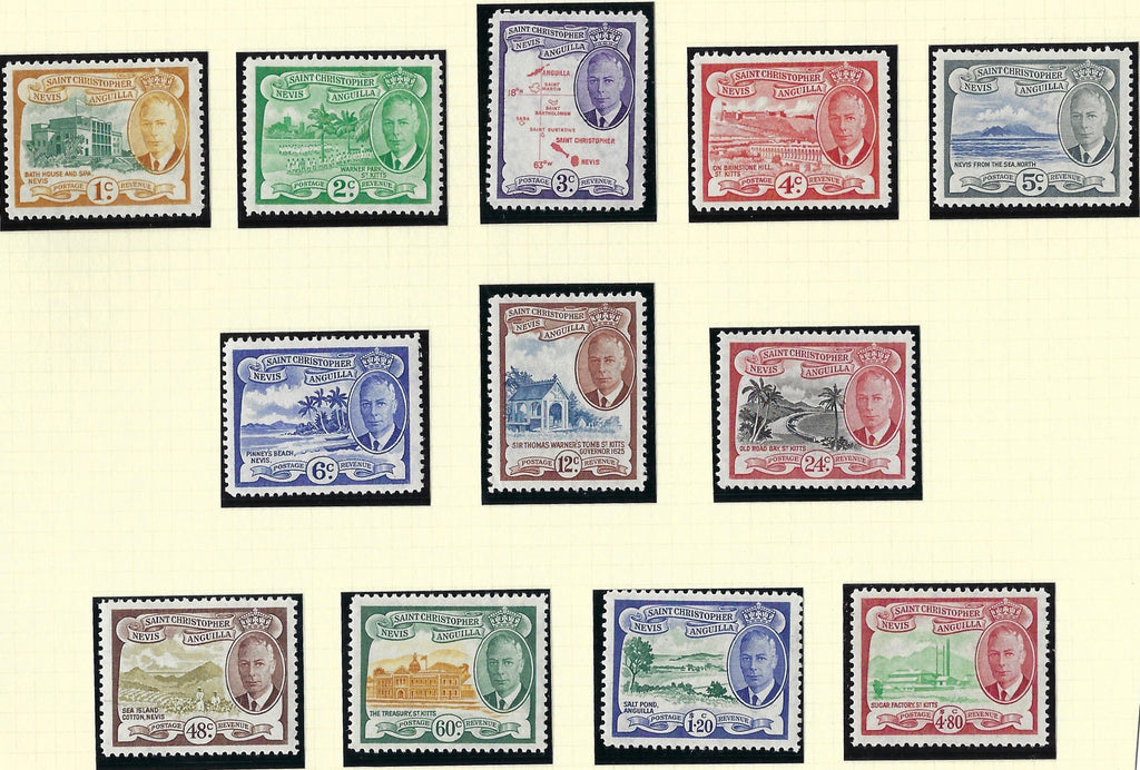 St. Christopher, Nevis and Anguilla 1952 (14 June) King George VI Watermark Multiple Script CA 1c to $4.80 green and carmine set of 12, SG94/105.