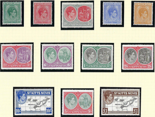 St. Kitts-Nevis 1938-50 1/2d to £1 black and brown, SG68a/77f