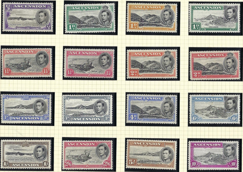 Ascension King George VI 1938-53 ½d to 10s black and bright purple set of 16, SG38b/47b.