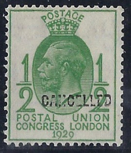 Great Britain 1929 1/2d green Postal Union Congress, SG434var