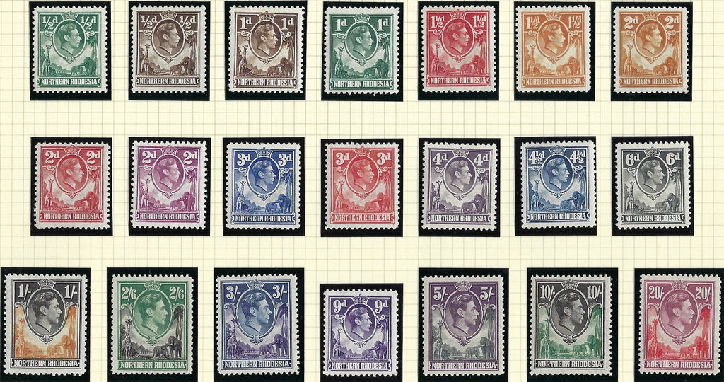 Turks and Caicos Islands 1950 King George VI ½d to 10s black and violet set of 13, SG221/233.