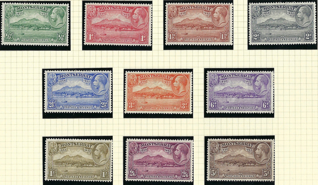 Montserrat 1932 (18 Apr) King George V 300th Anniversary of Settlement of Montserrat, Watermark Multiple Script CA ½d to 5s chocolate set of 10, SG84/93.