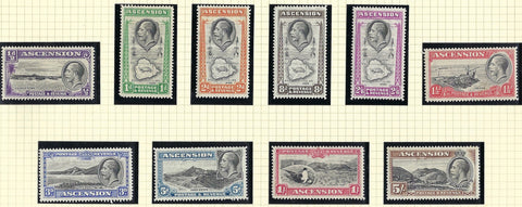 Ascension Island King George V 1934 ½d to 5s black and brown set of 10, SG21/30.