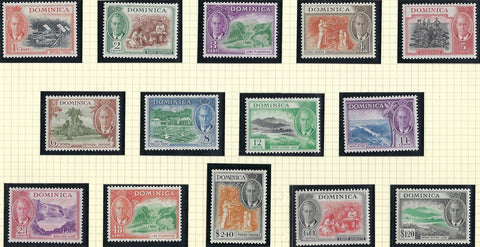 Dominica 1951 (1 July) King George VI 1c to $2.40 orange and black, SG121/134.