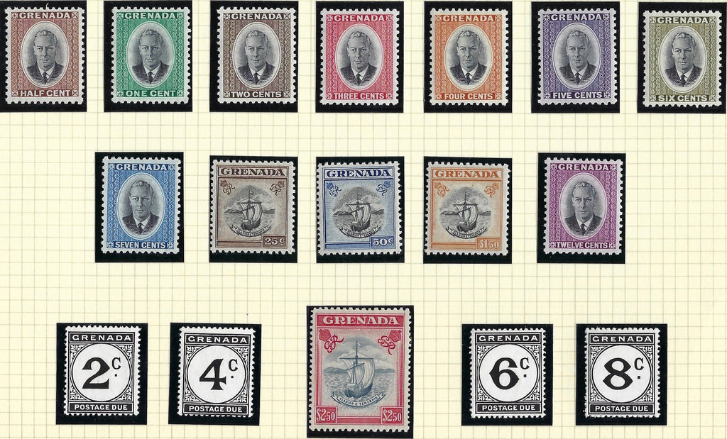 Grenada 1951 King George VI Watermark Multiple Script CA, ½c to £2.50 slate-blue and carmine set of 13, SG172/184.