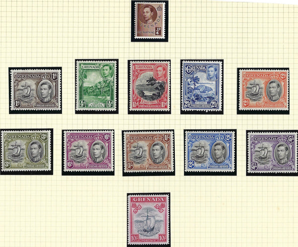 Grenada 1938-50 King George VI Watermark Multiple Script CA 1/4d to 10s blue-black and carmine set of 12, SG152/163e.