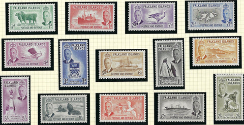 Falkland Islands 1952 (2 Jan) King George VI  set of 14, SG172/185.