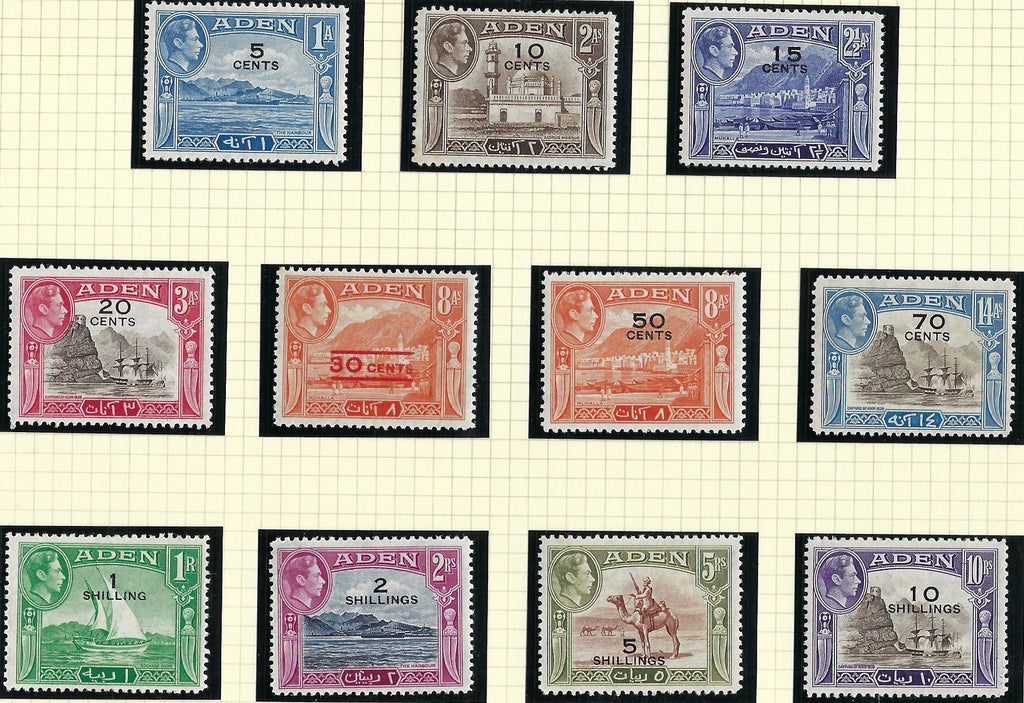Aden King George VI 1951 (1 Oct) surcharges with new values in cents or shillings by Waterlow, 5ca on 1a to 10s on 10r sepia and violet set of 11, SG36/46.