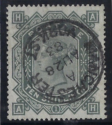 Great Britain 1883 10s Grey green Plate 1 (blued paper). SG131