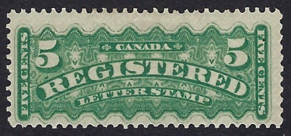 Canada 1875-92 Registration Stamps 5c green (shades) perforations 12 x 11¾, unused, SGR11