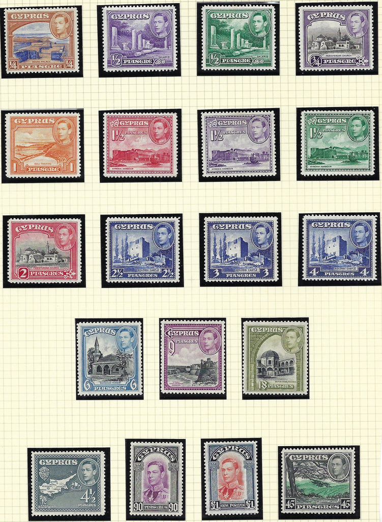 Cyprus 1938-51 King George VI Watermark Multiple Script CA 1/4pi to £1 scarlet and indigo set of 19, SG151/163.