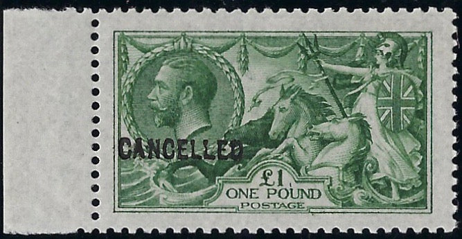 Great Britain 1931 £1 Yellowish green experimental printing on Joyson paper. SG403var