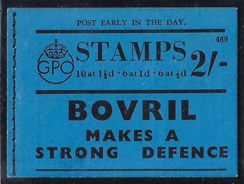 Great Britain 1938 2s Booklet (Edition No. 469),  SG BD12