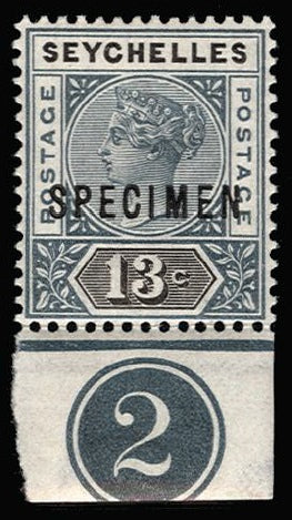 Seychelles 1890-92 13c grey and black SG13