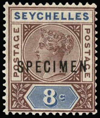 Seychelles 1890 8c brown-purple and blue SG3s var