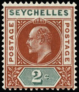 Seychelles 1903 2c chestnut and green SG46a