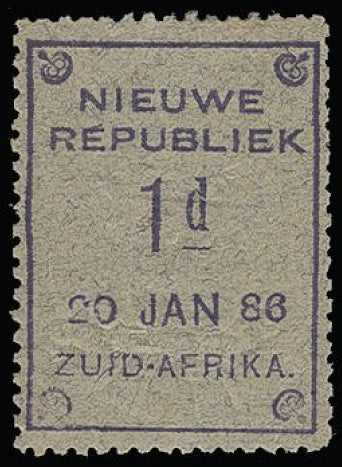 South Africa - New Republic 1886-87 1d violet on blue granite paper SG52