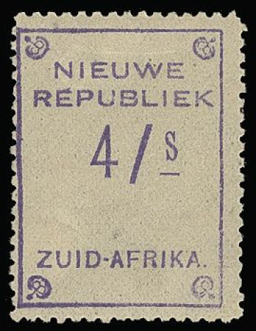 South Africa - New Republic 1887 4/s violet on yellow SG88ba
