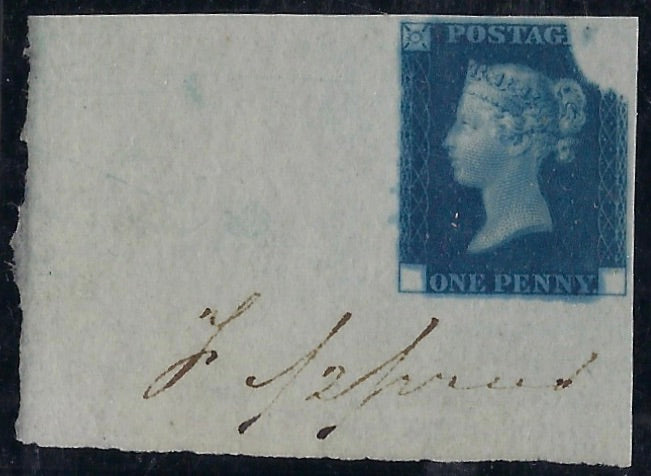 Great Britain 1840 1d Deep blue 'Rainbow trial' (State 3). SG DP20